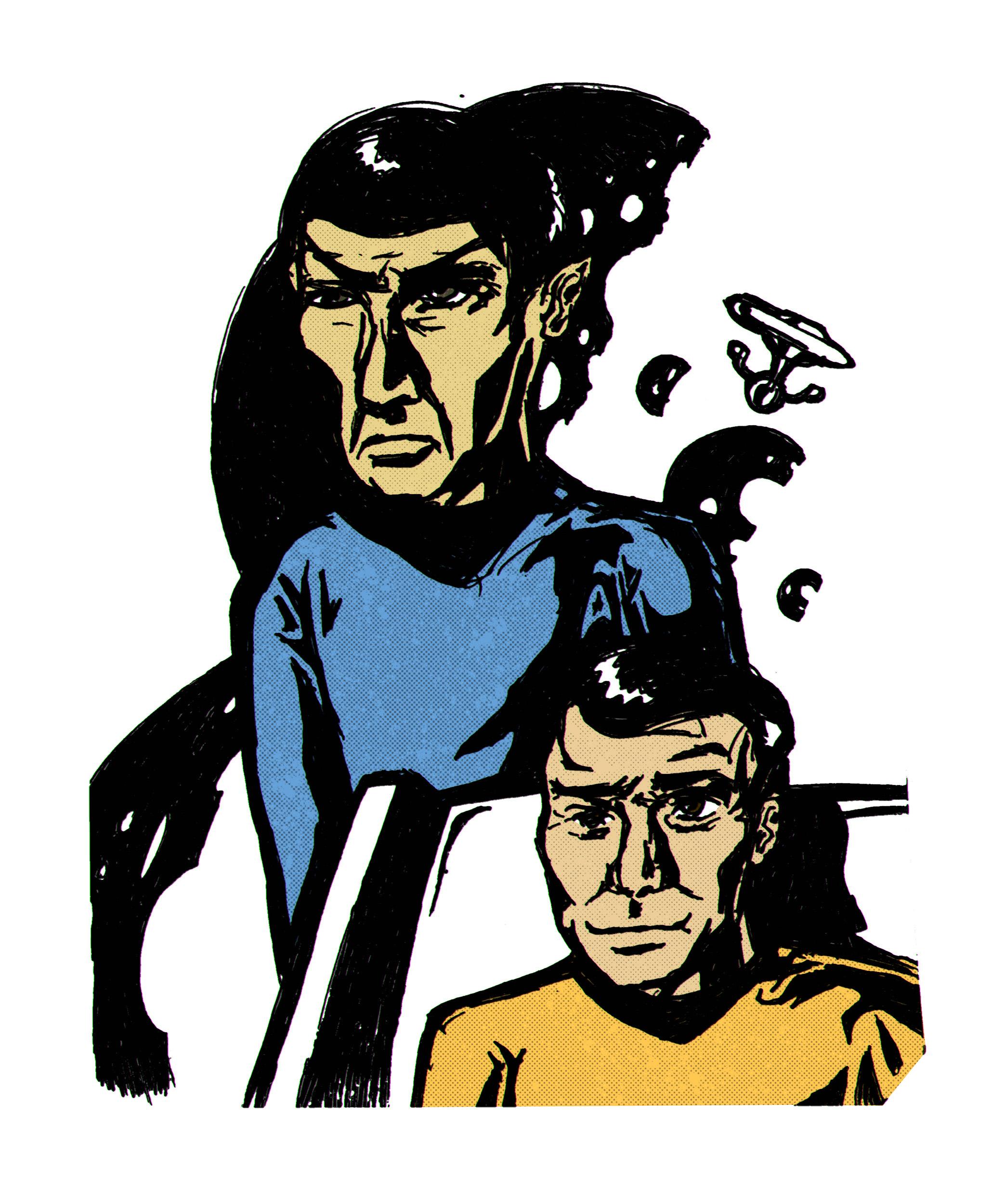 """Капитан Кирк и мистер Спок (""""Звездный путь""""). Бумага, ручка."""