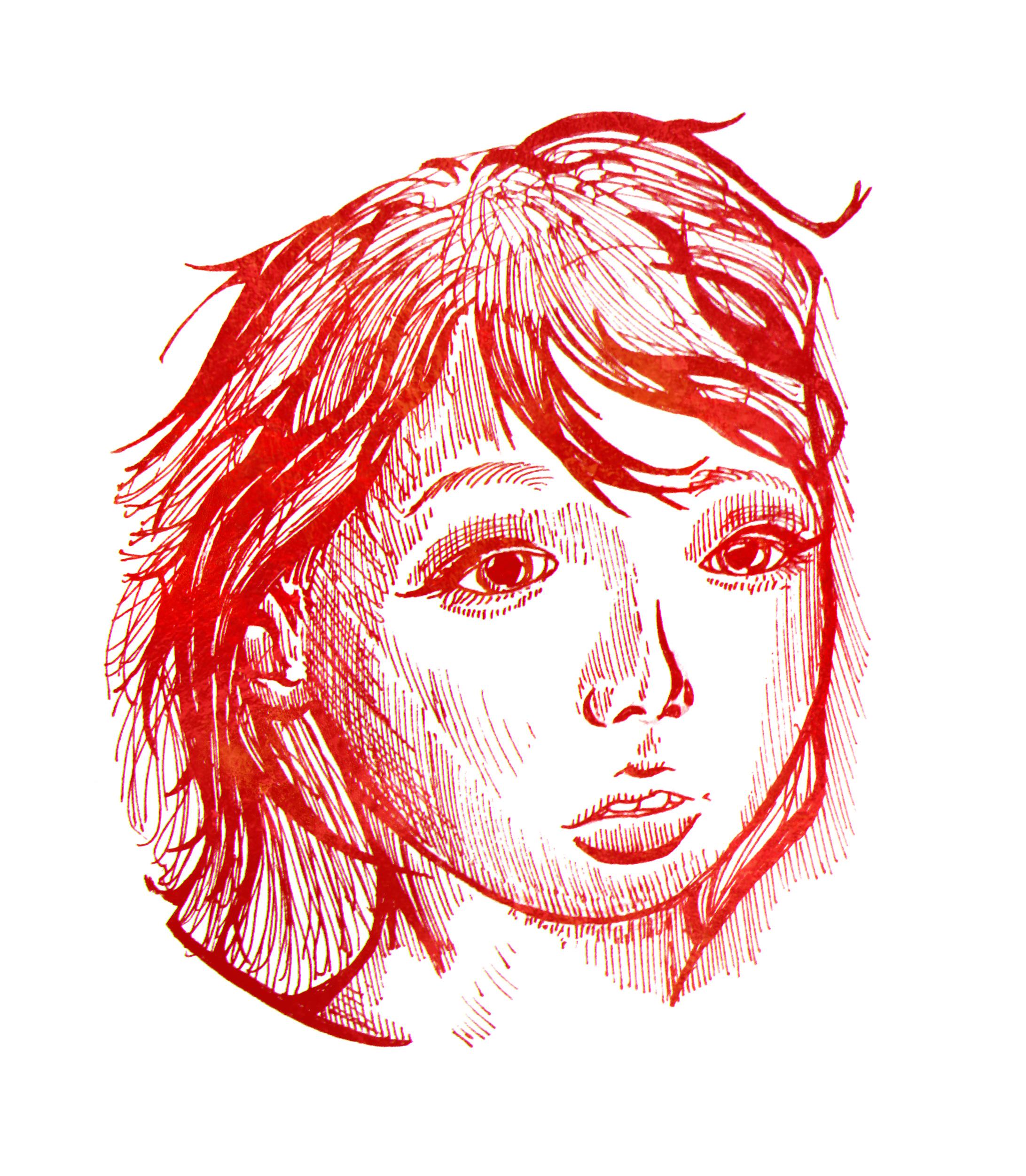 Японская девушка. Бумага, ручка.