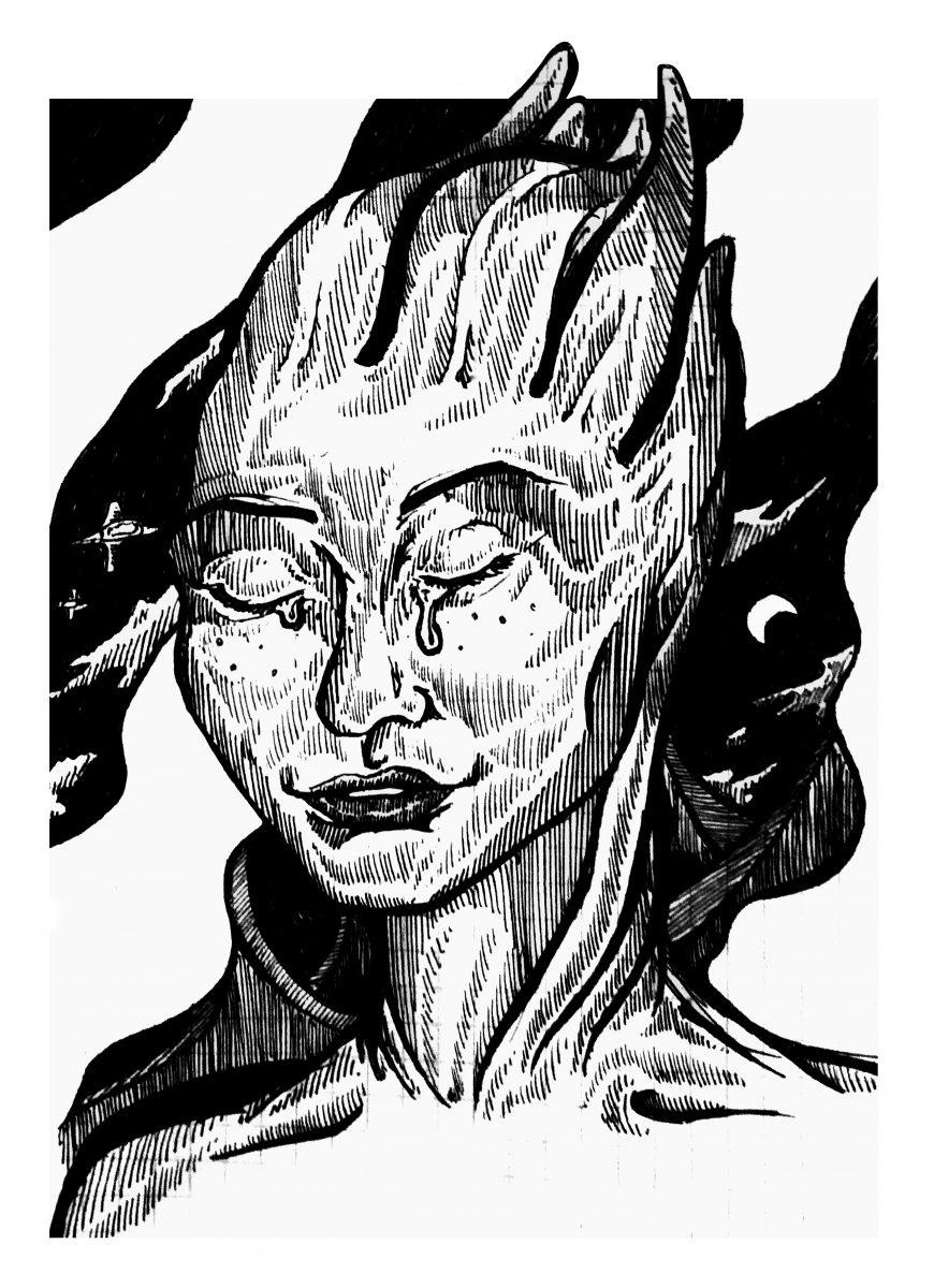 """Портрет Лиары Т'Сони из серии игр """"Mass Effect"""". Бумага, ручка."""