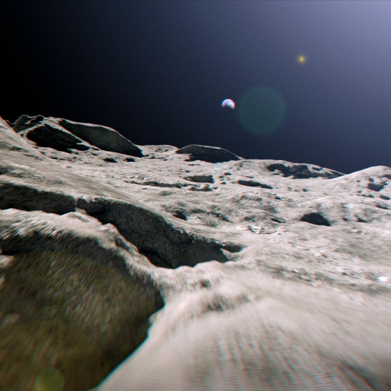 """Лунная поверхность - Тестовый рендер пролета камеры (""""Лунная пыль"""")"""