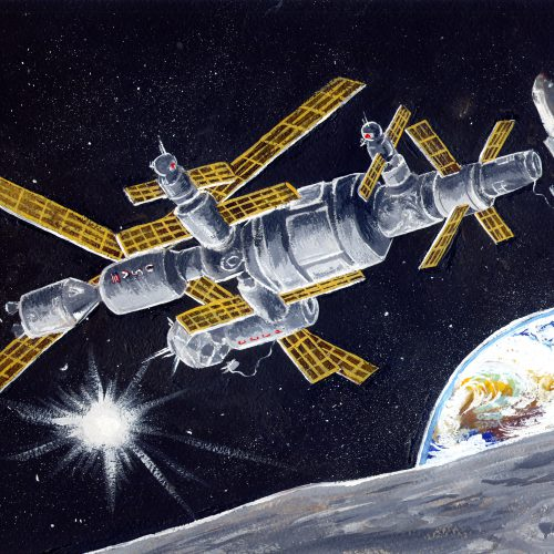 """International Space Station """"New Frontier"""" (Illustration For The Script """"Moon dust"""")"""