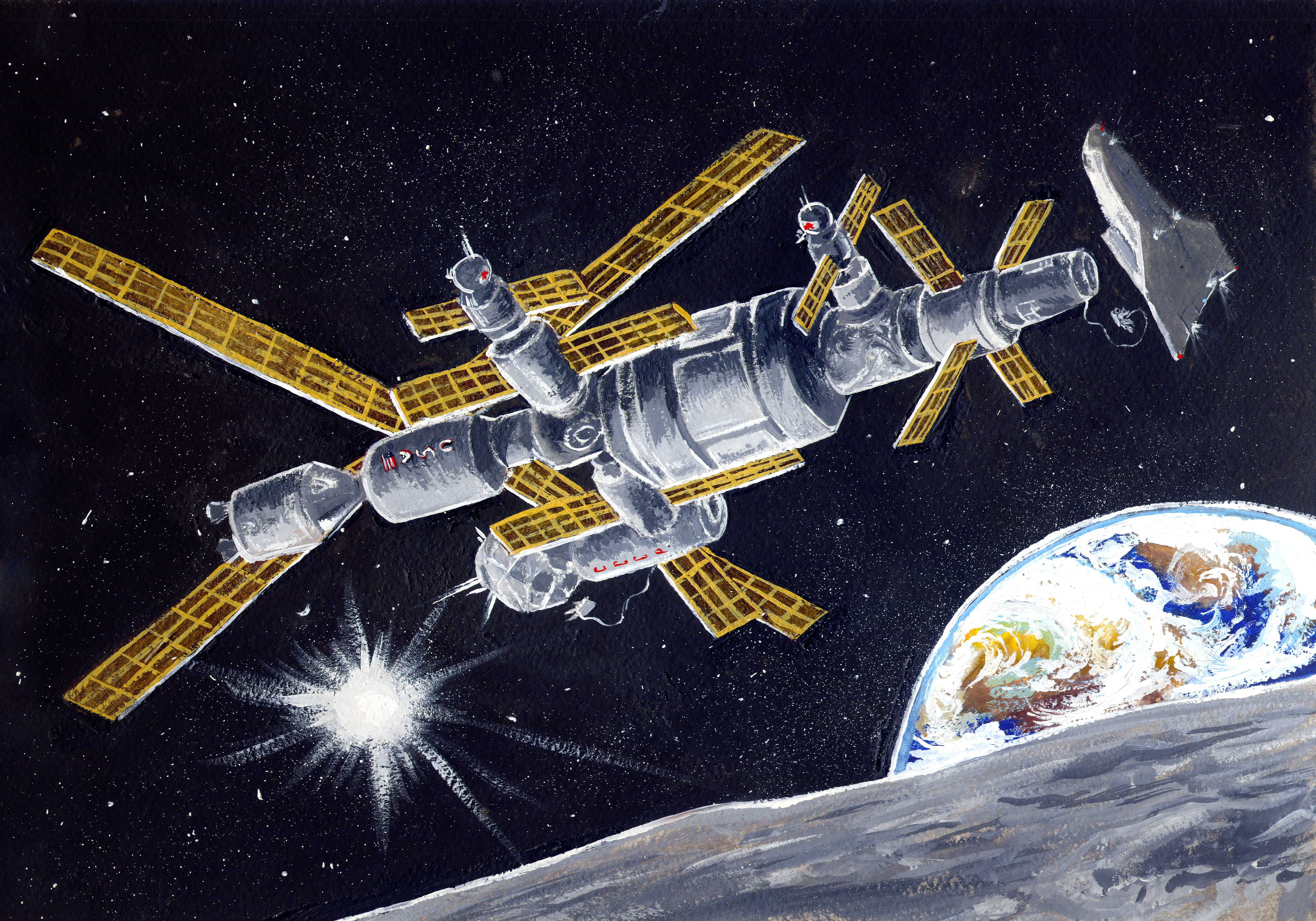 """Space station """"New frontier"""". Gouache, A4."""