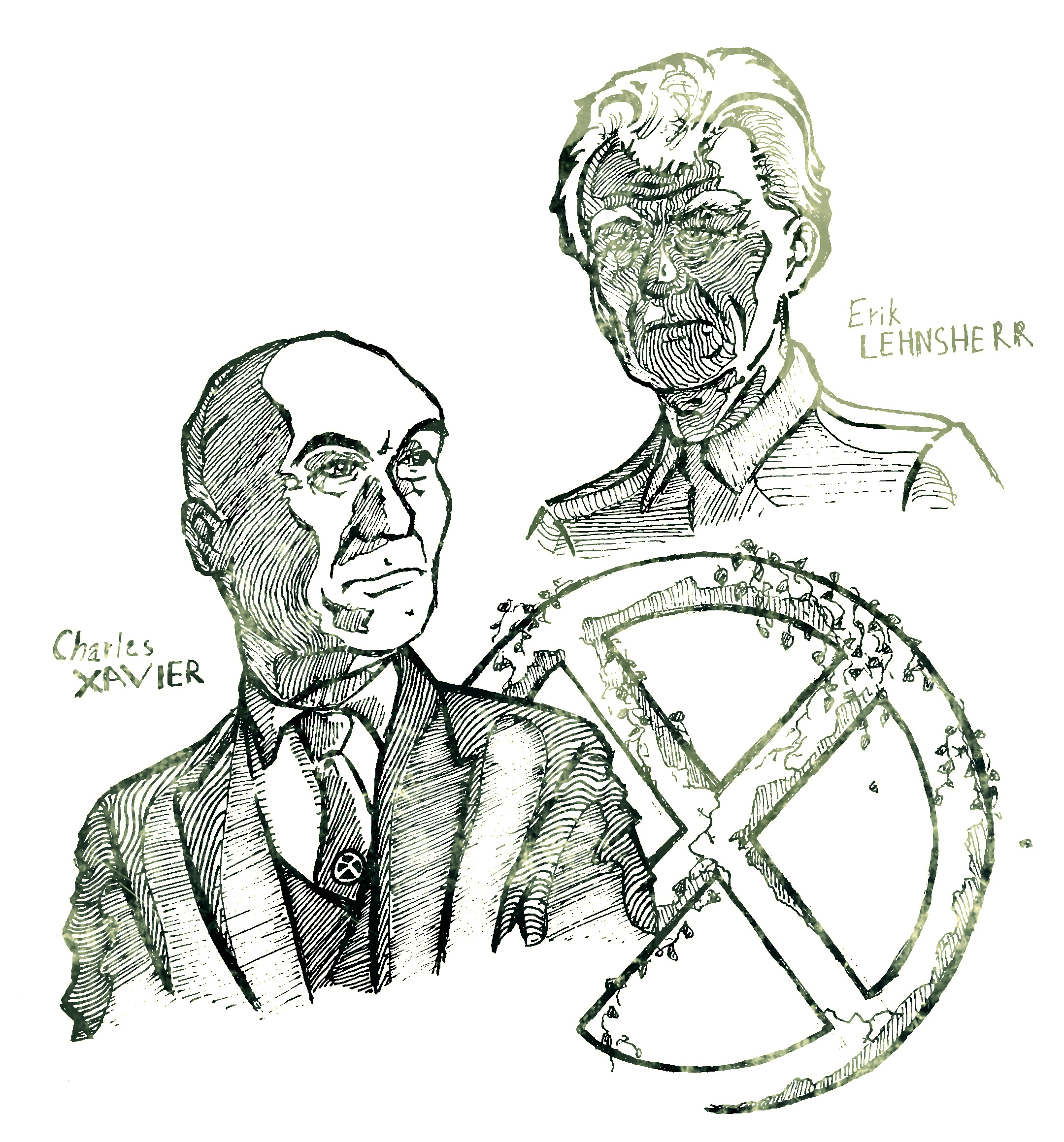 """Профессор X (Патрик Стюарт) и Магнето (Иэн МакКеллен) из серии фильмов """"Люди Икс"""". Бумага, ручка."""