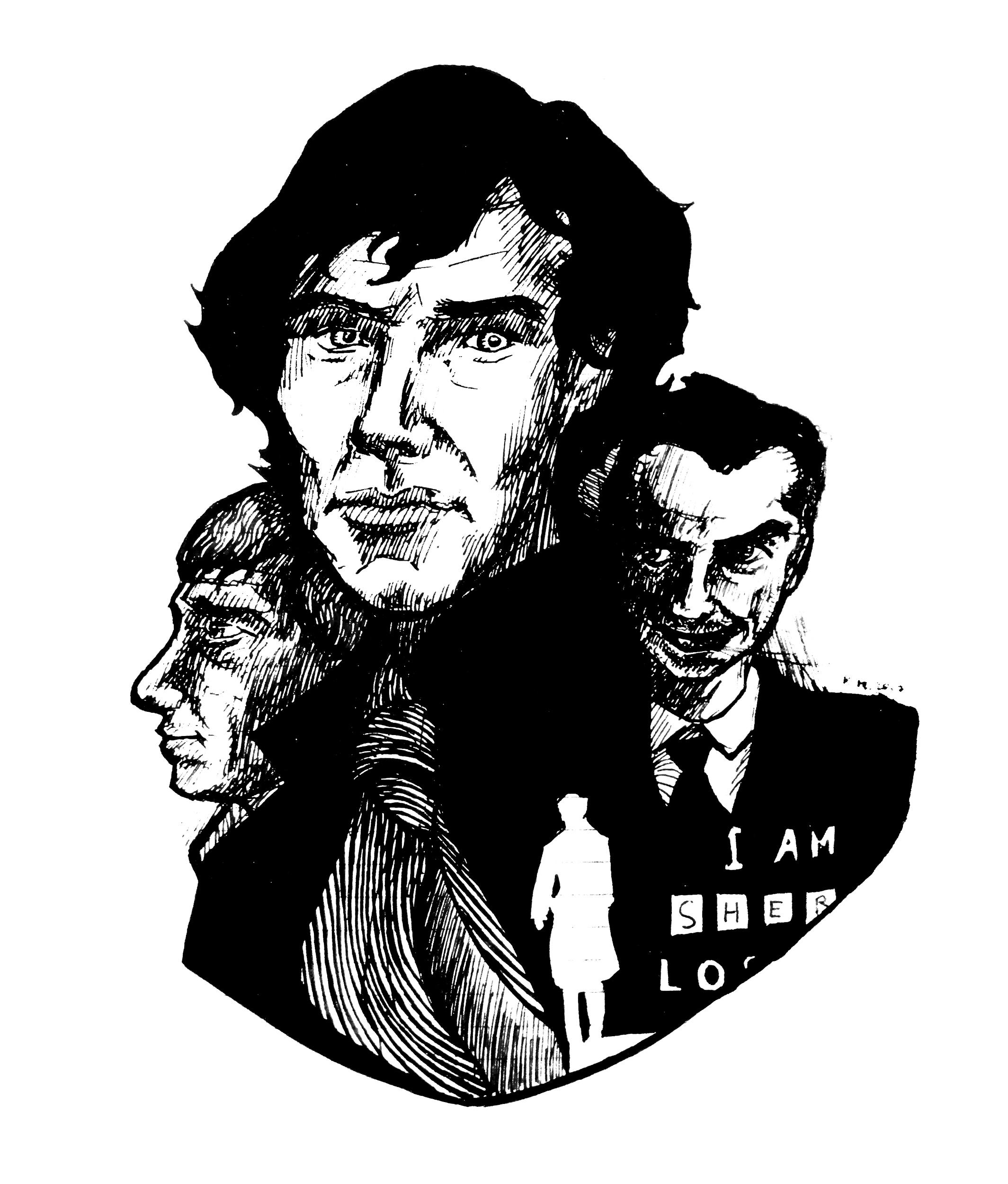 """Портреты Шерлока Холмса, Джона Ватсона и Джеймса Мориарти из сериала BBC """"Шерлок"""". Бумага, ручка."""