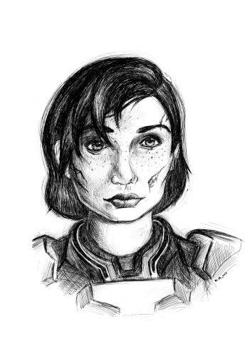 Captain Shepard (Mass Effect, 2007-2012). Pen on paper.