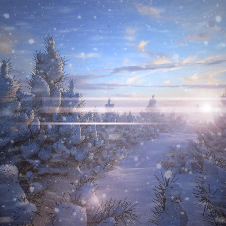 Зимнее утро (Пейзаж)