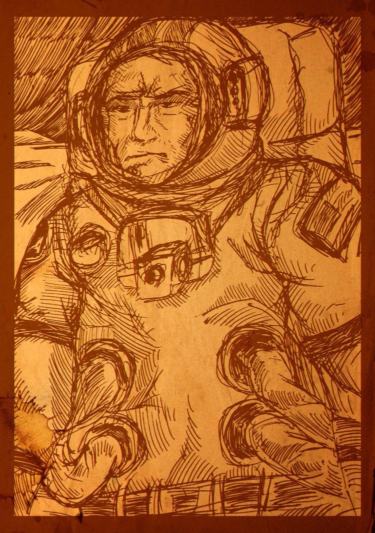 Космонавт на Луне (Набросок)