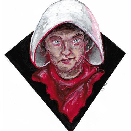 """Портрет Джун Осборн (Элизабет Мосс), главной героини сериала """"Рассказ служанки""""."""