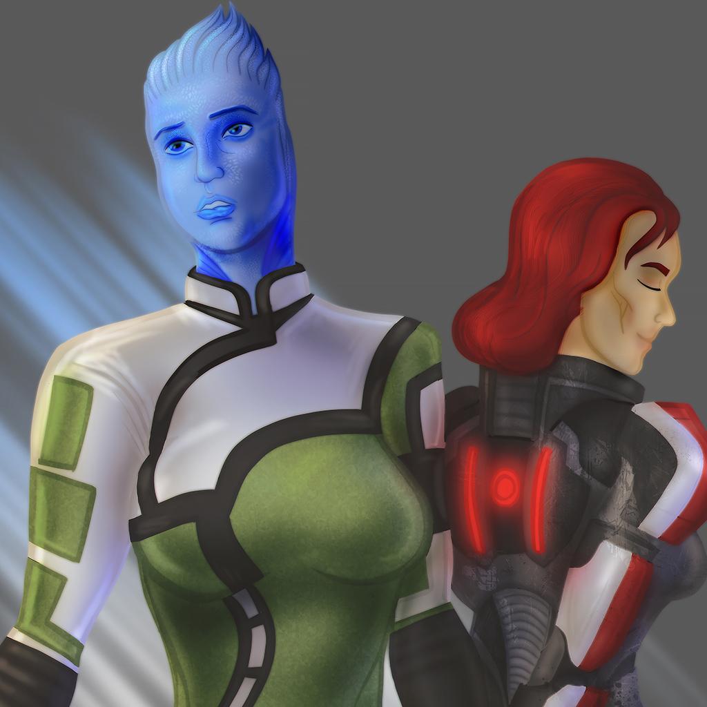 Liara and Shepard (Mass Effect)